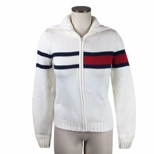 Tommy Hilfiger White Red Blue Knit Zip Cardigan